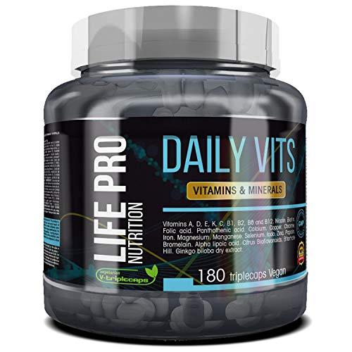 Life Pro Daily Vits – Multivitaminas y minerales para lo protección del sistema inmune – Vitaminas A, D, E, K, C, B1, B2, B6 y B12 – 180 cápsulas