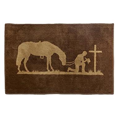 HiEnd Accents Western Praying Cowboy Kitchen and Bath Rug, 24  x 36