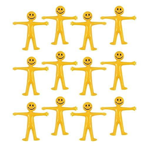 PartyPackTM 12x Glibber Smile Man für Kinder-Geburtstag Jungen und Mädchen, Mitgebsel, Kindergeburtstag Gastgeschenke, Dehnbare Smile Mänchen Set