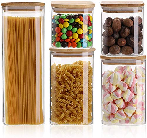 Bekith 5 Pack Glass Storage Jars with Sealed Bamboo Lids Kitchen Food Storage Stackable Jars Containers, 5 Sizes (2400, 1400, 1200, 900, 720ml)