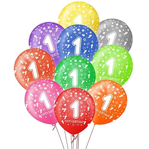 Sunshine smile Luftballon 1. Geburtstag,40 kunterbunte Luftballons Metallic,Kunterbunte Luftballons,Happy Birthday Dekoration Zahl,Nummerndekoration,Party Kindergeburtstag Happy Birthday Dekoration