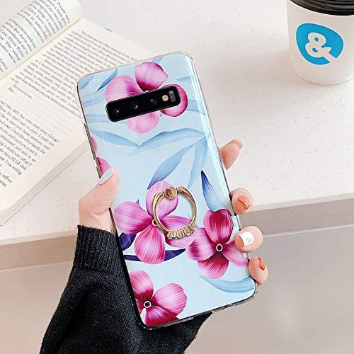 Herbests Kompatibel mit Samsung Galaxy S10 Plus Handyhülle Case Blumen Blätter Muster TPU Silikon Hülle mit Ring Halter Ständer Schutzhülle Ultradünn Tasche Rückschale Stoßfest Case,Lila Rosa Blumen