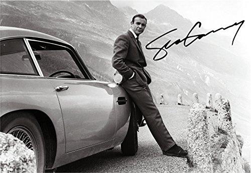 Jo Hole Prints Sean Connery 007 James Bond con DB5 - Póster de autógrafo (impresión A4), diseño de James Bond