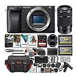 Sony a6400 Body Only Mirrorless Digital Camera Bundle: 64 GB SDXC Card, Filter Kit, 3 Batteries, USB Charger, Focus Camera Photo Suite, Messenger Bag, VCT-SGR1 Grip, SD Card Wallet, Shotgun Mic
