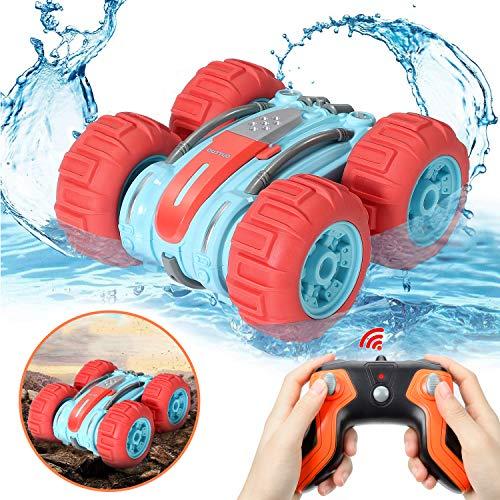 OUTTUO Amphibien Ferngesteuertes Auto, 2.4GHz 4WD Spielzeugauto mit Hochgeschwindigkeit, 360 Grad drehbar, geeignet für den Einsatz im Wasser oder auf dem Boden, ein cooles Geschenk für Kinder(Rot)