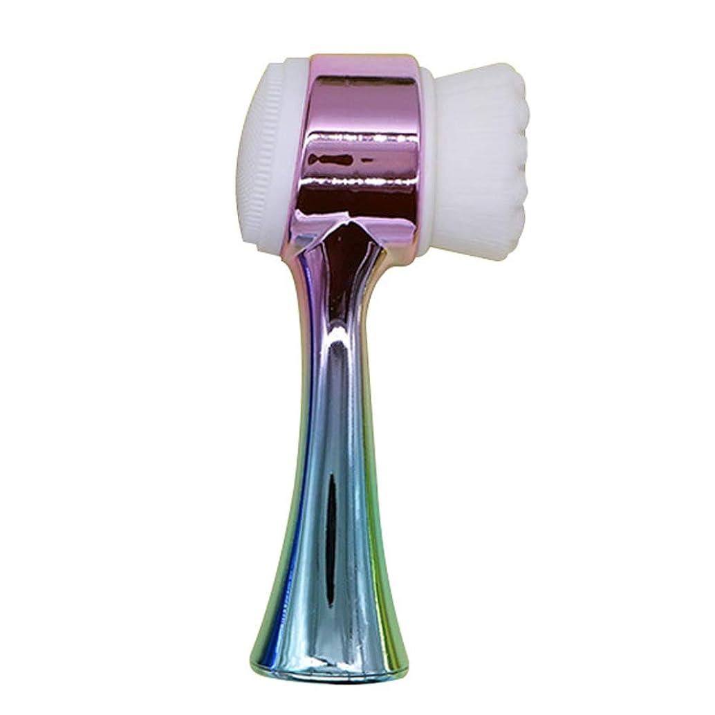 部分唯物論ロシア洗顔ブラシ, ミニ エクスフォリエイティング にきびの除去 やさしいお掃除に ディープクリーニング フェイシャルマッサージ ポータブルクレンジングブラシ,B