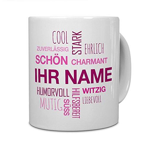 printplanet® Tasse mit Namen personalisiert - Motiv Positive Eigenschaften (Modern) Pink individuell gestalten - Farbvariante Weiß
