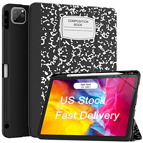 Soke Case for New iPad Pro 11 Inch 2020 & 2018 with Pencil Holder - Lightweight Trifold Stand Smart Soft Cover [Supports Apple Pencil 2 Wireless Charging + Auto Wake/Sleep], Book Black