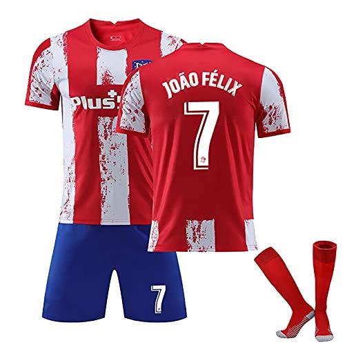 HFGD Conjunto De Camiseta De Juego De Estadio para Niños, Camisetas De Fútbol De Madrid 7 João Félix, Camisetas De Fútbol Nuevas De 2021, Uniforme De Fútbol para Hombres Red-L