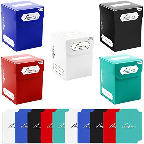 Quiver Time Juego de 5 cajas de 100 bloques de cubierta con 2 divisores, color blanco, negro, azul, rojo y verde