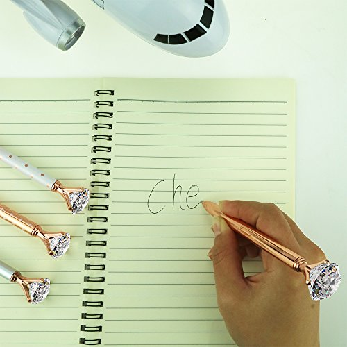 4 Pcs Rose Gold Pen with Big Diamond/Crystal,Metal Ballpoint Pen,Rose Gold White and Silver,School and Office Supplies,Black Ink Photo #8