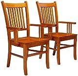Marbrisa Slat Back Arm Chairs Sienna Brown (Set of 2)