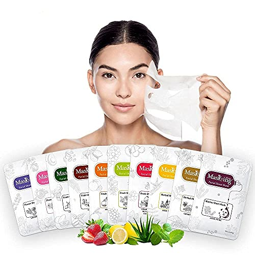 Masking diva facial sheet mask for women (pack of 10 combo) for skin brightening lightening face sheet mask with natural extract