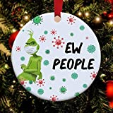 Nobrands Corona 2020 Weihnachten Grinch trägt Maske Weihnachten Ornament Grinch 2020 Ew People Ornament Xmas Funny Grinch 2020 Pandemic Ornament Weihnachtskugel Weihnachtsbaum Dekoration