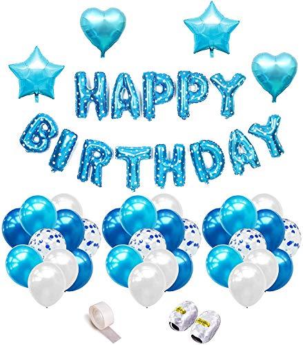 iZoeL Geburtstagsdeko Blau für Jungen Mädchen Happy Birthday Girlande 40pcs Konfetti Luftballons Herz Stern Folienballon Kindergeburtstag Deko