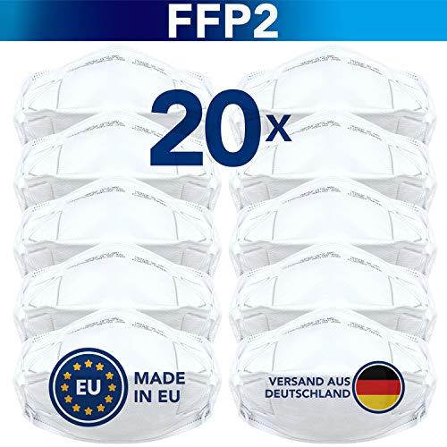 Natureflow FFP2 Maske (20 Stück) - Sicherheit Made in EU - Premium Atemschutzmaske CE-zertifiziert EN149:2001+A1:2009 - Mundschutz / Schutzmaske ohne Ventil