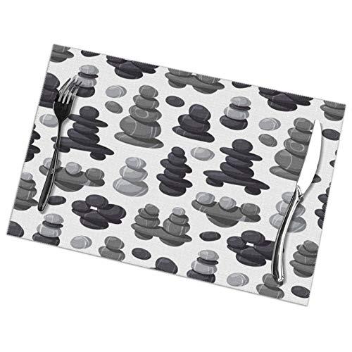 RaglMtC - Juego de 6 manteles individuales de piedra lavables antideslizantes y resistentes al calor para cocina, comedor, 12 x 18 pulgadas