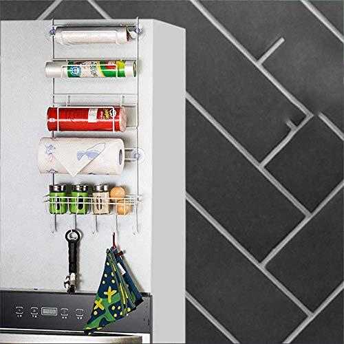 KANJJ-YU Cocina Multi-función Refrigerador Lateral Rack Envoltura Película Papel Toalla Colgando Bolsa de Ventosa de Almacenamiento Estante de Drenaje de Plato taza de secado rack Cocina