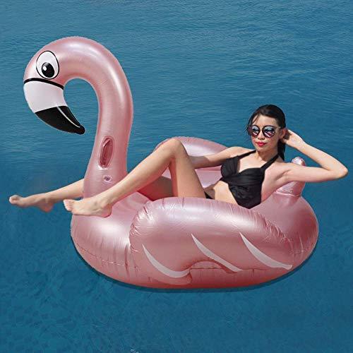 Anillo de natación Inflable, Anillo de natación Colchones de Aire Inflable Rosa de Oro Flamenco Champagne Oro Cama Flotante Fila Flotante Anillo de natación Niños Adultos Montar