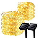 GIGALUMI 2 Pack Solar Strings Lights, 39 Feet 100 LED Solar Fairy Lights