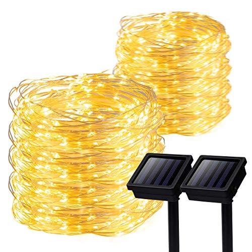 GIGALUMI 2 Pack Solar Strings Lights, 39 Feet 100 LED Solar Fairy Lights
