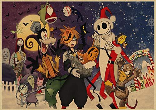 VGFTP 1000 Piezas Kingdom Hearts Puzzles, Rompecabezas de Madera Cartoon Movie Puzzle, IQ Desarrollando Juguetes educativos ensamblados para Juguetes para niños