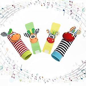 Vicloon Sonajero Calcetines y Muñequeras para Bebé, 4pcs Sonajeros de Muñeca Bebe Sonajero de Pies y Manos Juguetes, Sonajero para Recién Nacidos con Buscador de Muñeca para Bebé de 4-5 Meses