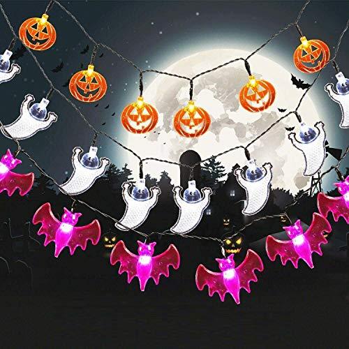 SALCAR 3 Stück LED Lichterkette Halloween und Weihnachten LED Deko, 10 Kürbis-LEDs, 10 Geister-LEDs und 10 Fledermaus-LEDs, Dekoration für Partys, 2 AA-Batterien - Weiß, Gelb, Lila