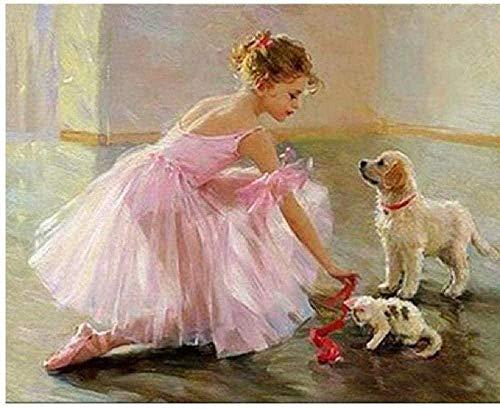 HCDZF Juego de pintura por números para adultos niños principiantes pintura por números sobre lienzo para decoración del hogar bailarina niñas y cachorros 40 x 50 cm (sin marco)