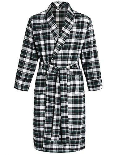 Latuza Men's Cotton Flannel Robe M Black & Green