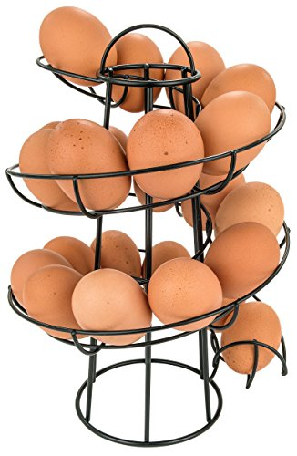 Southern Homewares Egg Skelter Deluxe Modern Spiraling Dispenser Rack Black