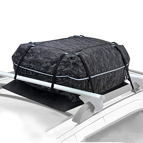 YOULERBU Car Roof Bag & Rooftop Cargo Carrier Bag, 100% Waterproof Excellent Military Quality Rooftop Car Bag - Fits All Cars