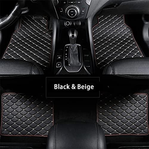 Maibenbao Alfombras de Coche para KIA Sportage-R VQ Rio Ceed/GT/SW/Pro Cerato Venga Carens Soul Alfombrilla para Coche de Cuero Antideslizante Impermeable (Negro & Beige,Juego de 4 Piezas)