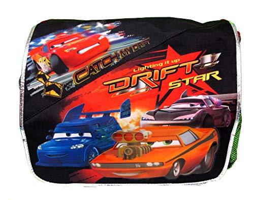 SK Gifts and Toys Cars-Umhängetasche mit 4 Autos auf der Vorderseite Catch my Drift, Schwarz