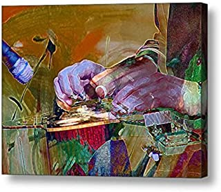"""Flaming Hands in Motion - 12""""H x 16""""W Canvas Print"""