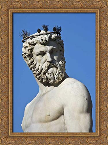 Flaherty, Dennis 17x24 Gold Ornate Framed Canvas Art Print Titled: Italy, Florence Statue of Roman god Neptune