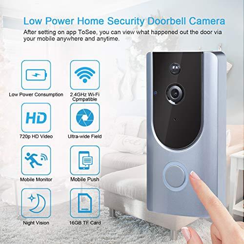 Videoportero WiFi Timbre Inalámbrico Video 166° HD Inteligente con Cámara, Visión Nocturna y Detección de Movimiento PIR