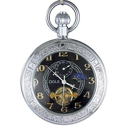 Ogle Impermeable Lupa Tourbillon Luna Fases Cadena Llavero automático mecánico Negro Reloj de Bolsillo