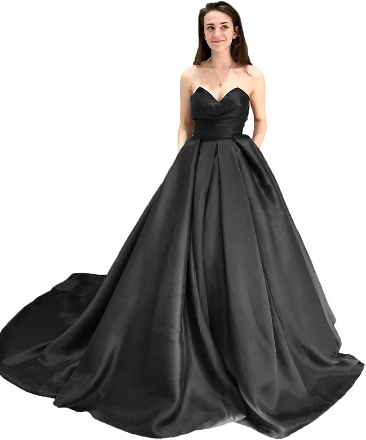 KaBuNi Women's Vintage Sweetheart Satin Prom Dresses Long Evening Dresses Ball Gown