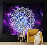 CAPTIVATE HEART Moon Starry Peacock Mandala Psychedelic Colorful Flannel Hippie Tapestries,Beach Throw Blanket,Boho Decor Bohemian,Yoga Rugs,Hanging Bedroom,Dorm,Picnic,60x51Inch.