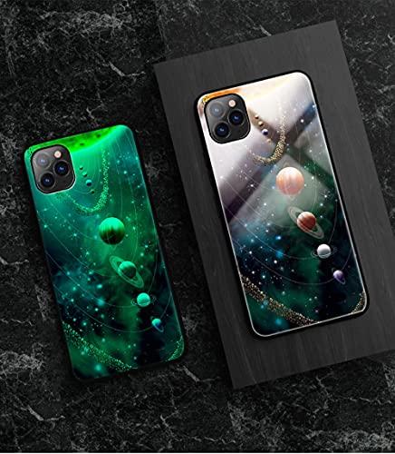 Carcasa de Telefono Luminoso Funda para Teléfono con Cordón, Carcasa de Vidrio Templado Borde Suave Antifricción 3D Patrón Nueve Galaxias Serie Compatible con iPhone 8 Plus