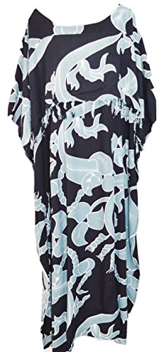 Cool Kaftans Celtic Maya Batik Long Kaftan Beach Cover up Ladies (Gray)