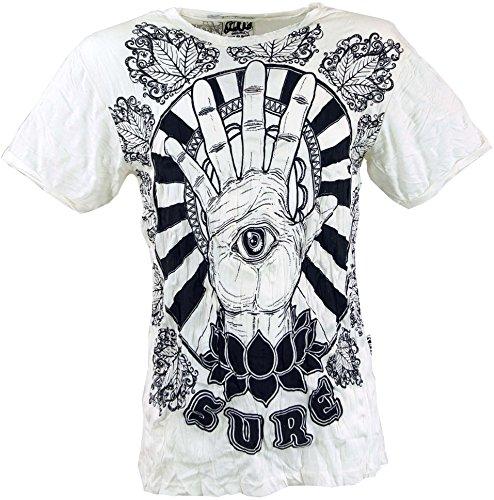 Guru-Shop Sure T-Shirt Magic Eye, Herren, Weiß, Baumwolle, Size:M, Bedrucktes Shirt Alternative Bekleidung