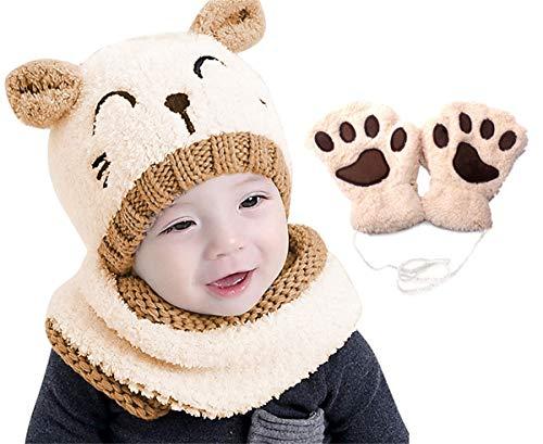 Yutdeng Bambino Cappello Inverno Sciarpa e Guanti 3 Pezzi Infantile Berretto a Maglia Caldo con Sciarpa a Cerchio Scaldacollo e Guanti Set Bebè Maschietto Ragazza 1-3