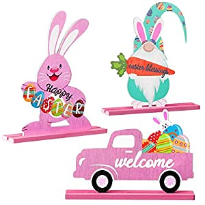 3 Distinct designs: the Easter wooden table signs possess 3 distinct designs, including Easter bunny holding Happy Easter, bunny holding blessing carrot and truck with welcome, which are sufficient to meet your decorative needs at Easter, adding a jo...