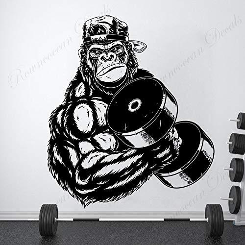 Gimnasio Fitness Deportes Músculo fuerte Gorila Orangután King Kong Bestia Mancuernas Etiqueta de la pared Calcomanía de vinilo Entrenamiento Bodybuilding Club Decoración para el hogar Mural