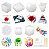 Resin Molds Silicone Kit 20Pcs,Epoxy Resin Molds Including Sphere,Cube,Pyramid,Square,Round, Used for Create Art,DIY,Ashtrays,Coasters,Candles.Bonus Decorative Sequins and The Complete Set Tools