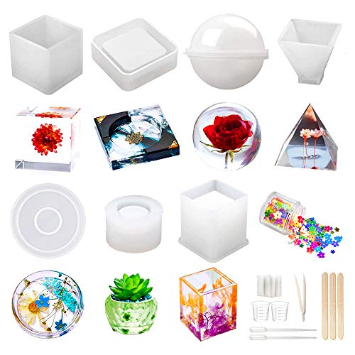 Resin Molds Silicone Kit 20Pcs,Epoxy Resin Molds Including...