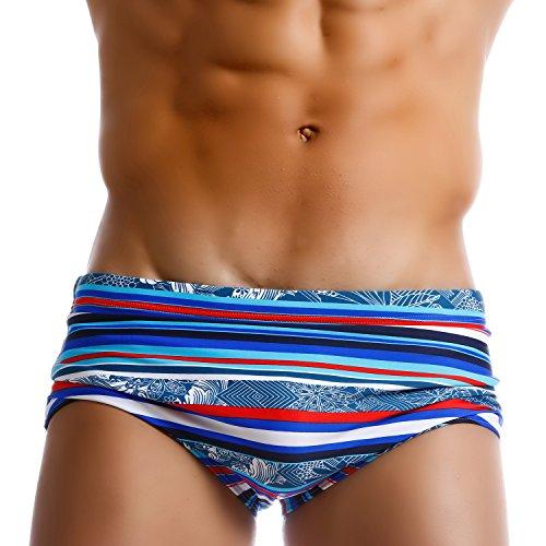 TADDLEE Herren bademode sexy Badehose Bikini brasilianischen klassischen Schnitt Badeanzüge m fit Taille 31-33 Zoll blau