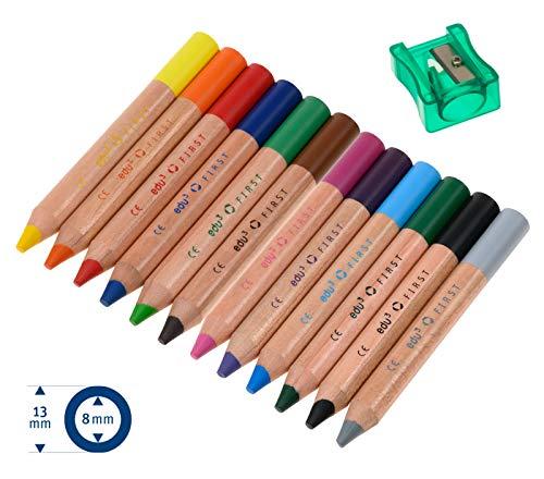 edu3 First 2in1 Buntstifte Dicke Farbstifte, 12 Einzelfarben (Set: 12er + Spitzer)